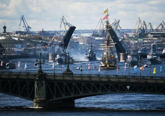 俄海軍日主要海軍閱兵式在喀琅施塔得結束