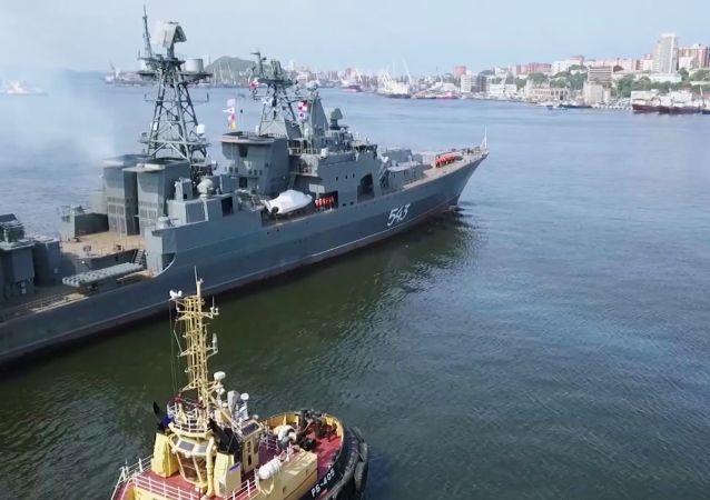 俄太平洋艦隊「沙波什尼科夫海軍上將」號改進型護衛艦進入日本海測試