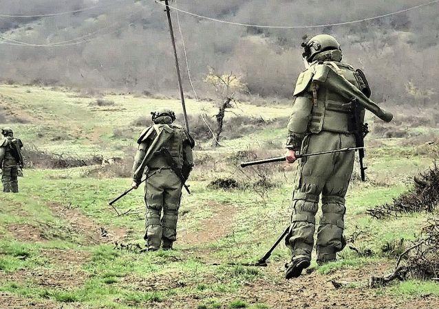 俄工兵在納戈爾諾-卡拉巴赫