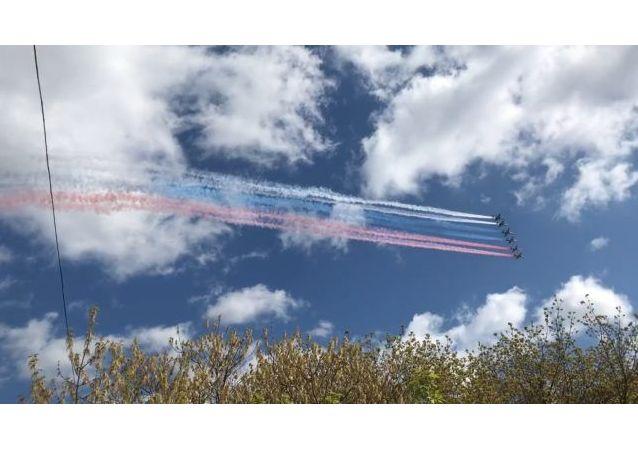 莫斯科市上空进行胜利日阅兵式空中部分战机彩排训练