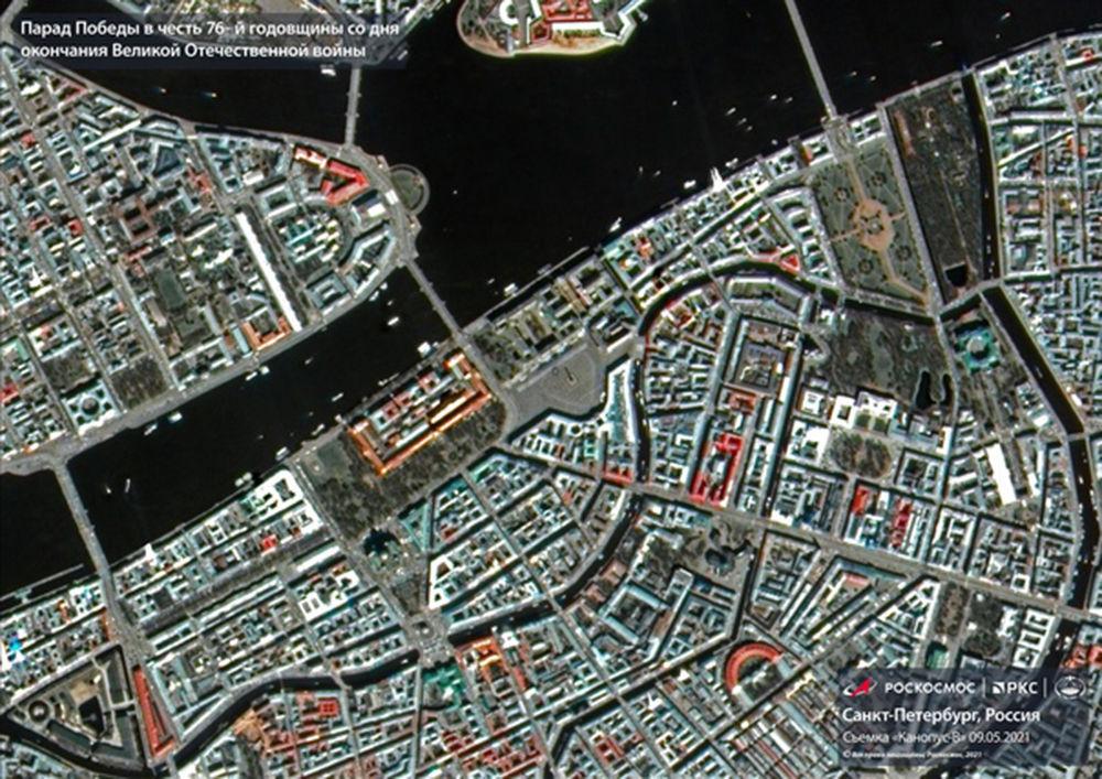 製成對地光學遙感衛星Kanopus-V的聖彼得堡市的軍事閱兵照片。