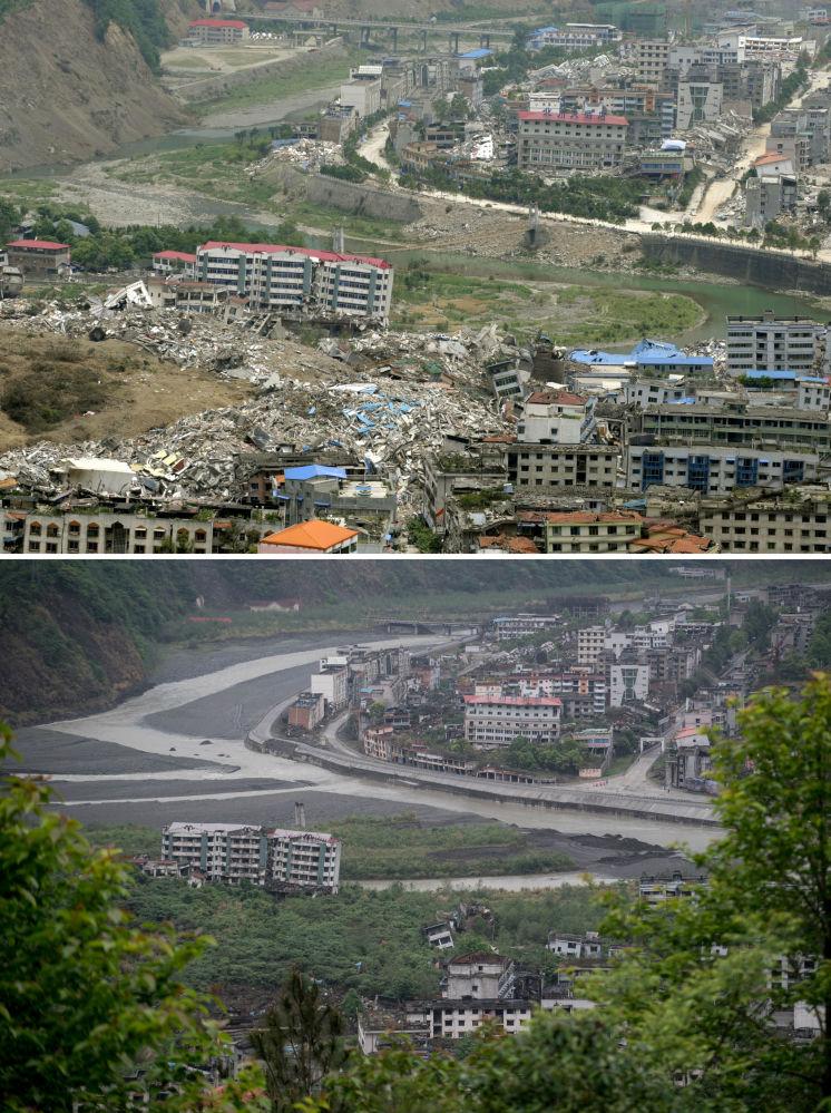 2008年震后照片(上)与2018年同一地点的对比照片。