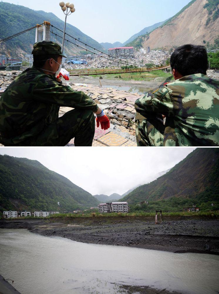 2008年北川震后照片(上)与2018年同一地点的对比照片。