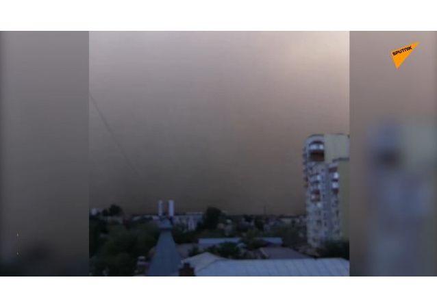 阿斯特拉罕遇强沙尘天气