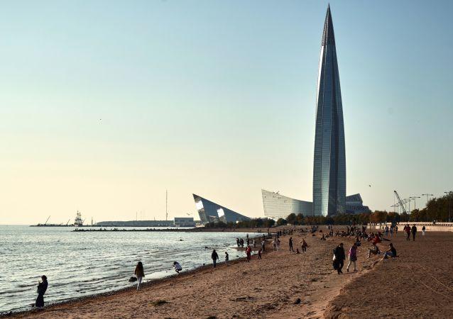 """圣彼得堡的多功能商务大厦""""拉赫塔中心""""塔。"""