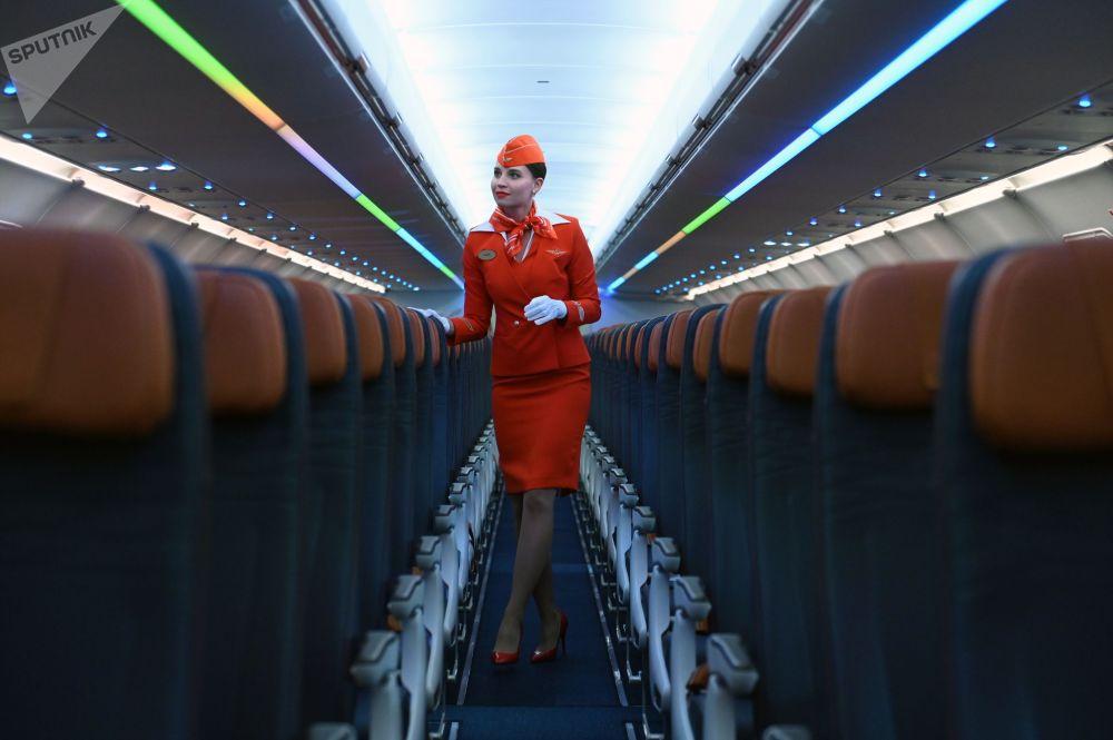 俄罗斯国际航空公司展示空客新机型Airbus A321/320neo。