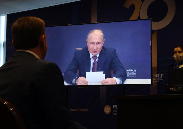 普京出席聖彼得堡國際經濟論壇全體會議
