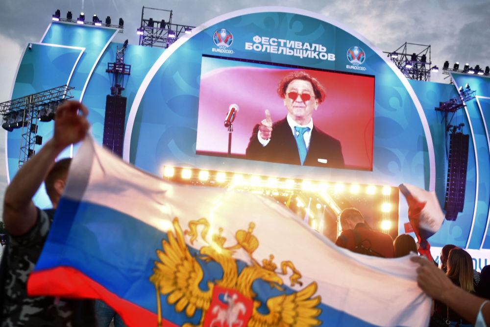 莫斯科市盧日尼基體育場為球迷轉播2020年歐洲國家杯賽事