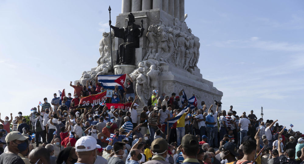 古巴多地共产党人游行抵制挑衅抗议