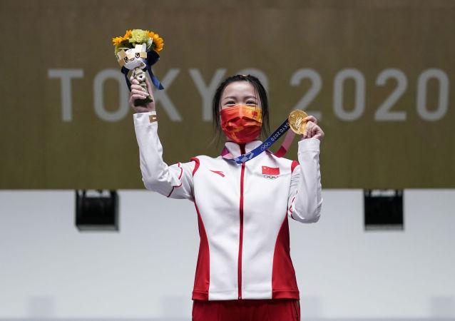 中国国务院副总理祝贺射击运动员杨倩夺得东京奥运会首金