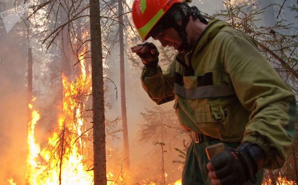 俄羅斯航空護林局工作人員在雅庫特撲滅林火
