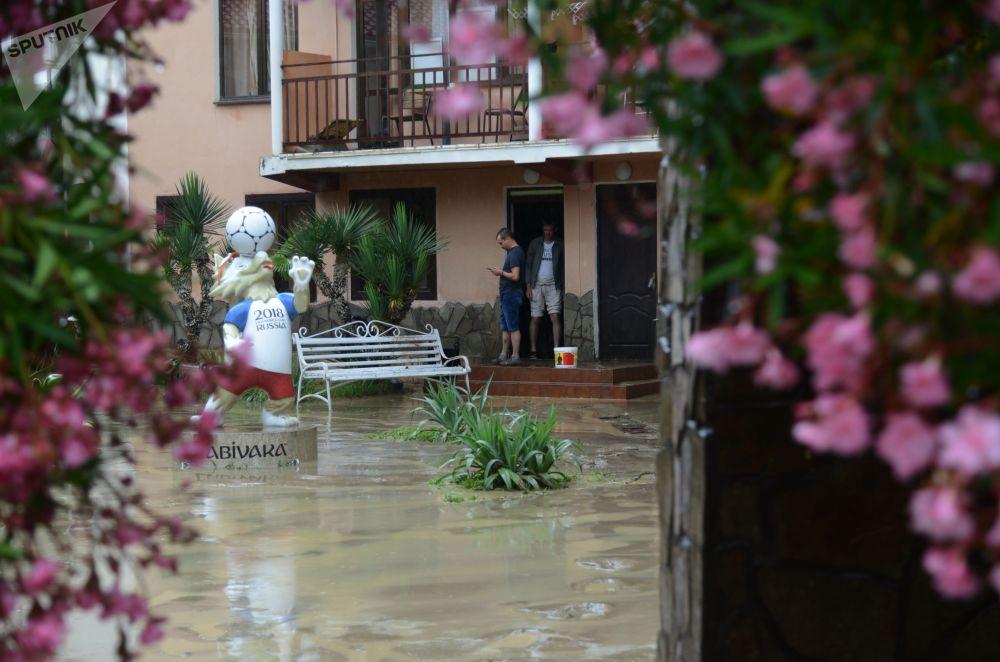 索契霍斯廷斯基區一家被洪水襲擊的酒店