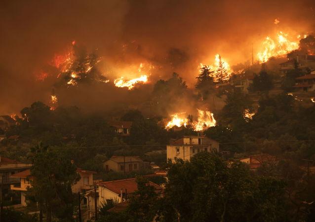 希臘埃維亞島北部約300棟房屋被燒毀