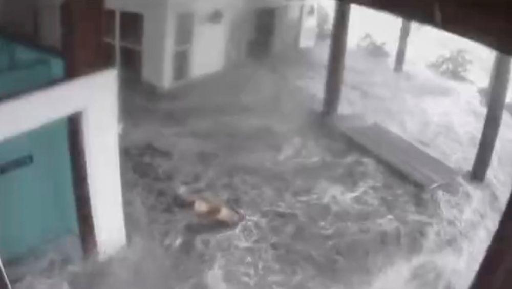 """飓风""""艾达""""袭击路易斯安那州时被淹的海边房屋。"""