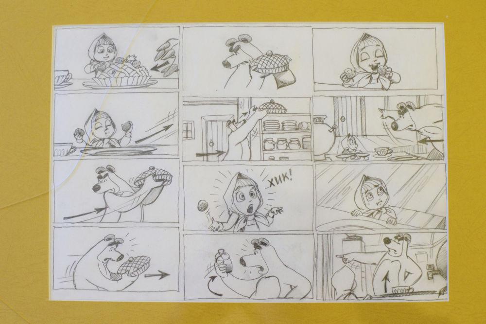 动画片《玛莎和熊》的新剧集绘图。