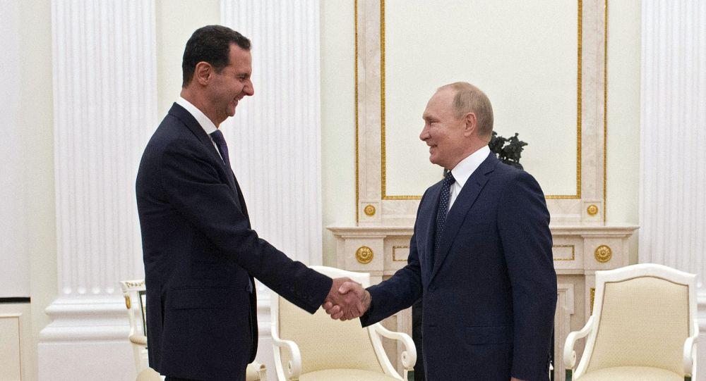 敘利亞總統府表示,阿薩德在會見普京時感謝俄羅斯維護國際法的努力
