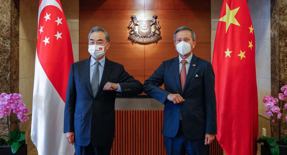 中國外交部長王毅(左)與新加坡外長維文