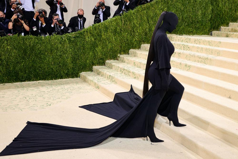 美国真人秀明星、演员、模特金·卡戴珊出席在纽约举办的Met Gala 2021活动