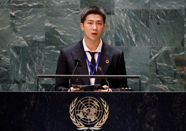 少年防弹团和他们的粉丝大军淹没联合国大会