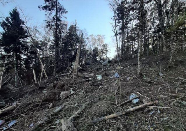 """俄救援人员正在寻找哈巴罗夫斯克附近坠毁安-26飞机的""""黑匣子"""""""