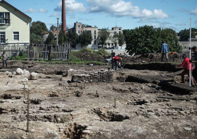 普斯科夫市的考古发掘(资料图片)