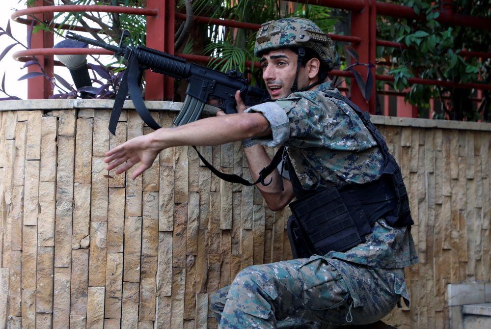 利比亚军人在贝鲁特枪战发生的地方。