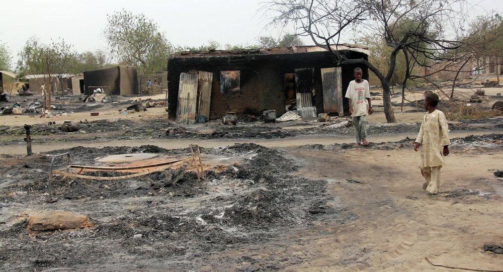 被燒毀的尼日利亞村莊/資料圖片/