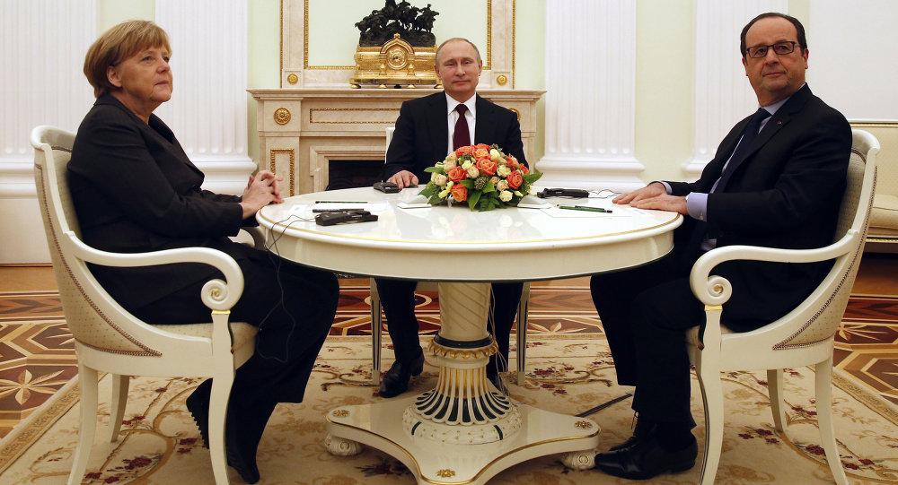 普京、默克爾及奧朗德