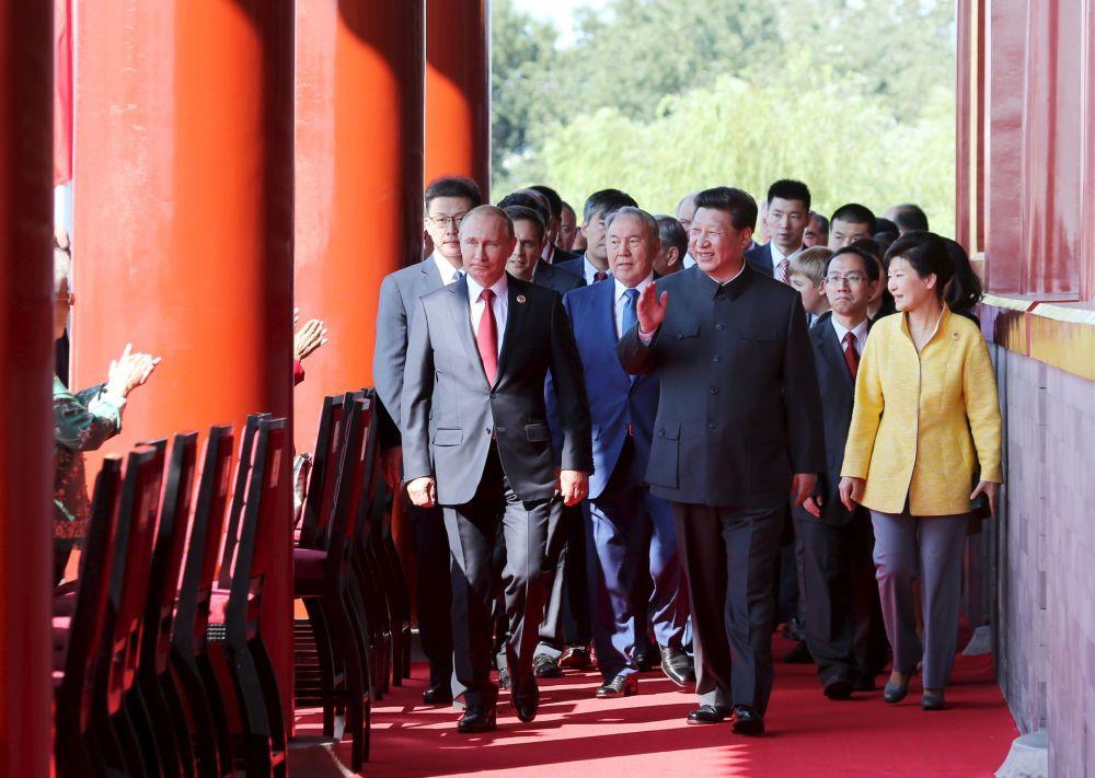 北京纪念二战胜利70周年阅兵上的各国元首