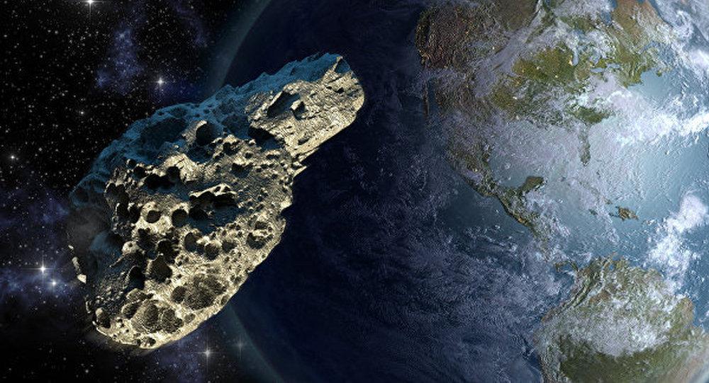 地球和小行星圖畫