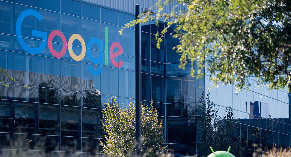 A Google logo and Android statue are seen at the Googleplex in Menlo Park, California