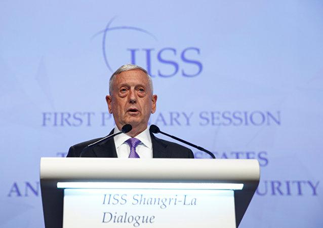 U.S. Secretary of Defense James Mattis speaks at the 16th IISS Shangri-La Dialogue