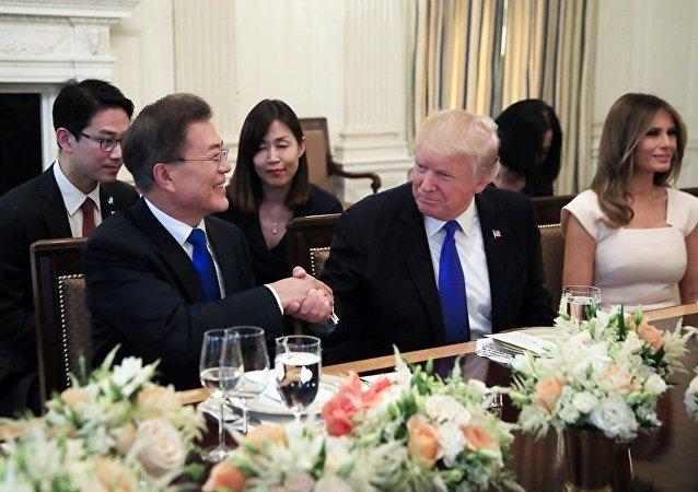 特朗普同韓國總統討論朝鮮局勢