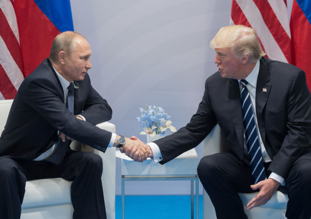 特朗普和普京在汉堡会面时