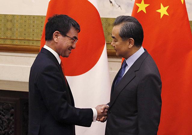 中國外交部長王毅和日本外相河野太郎28日舉行了會談