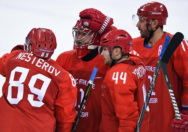 俄罗斯冰球队击败斯洛文尼亚队