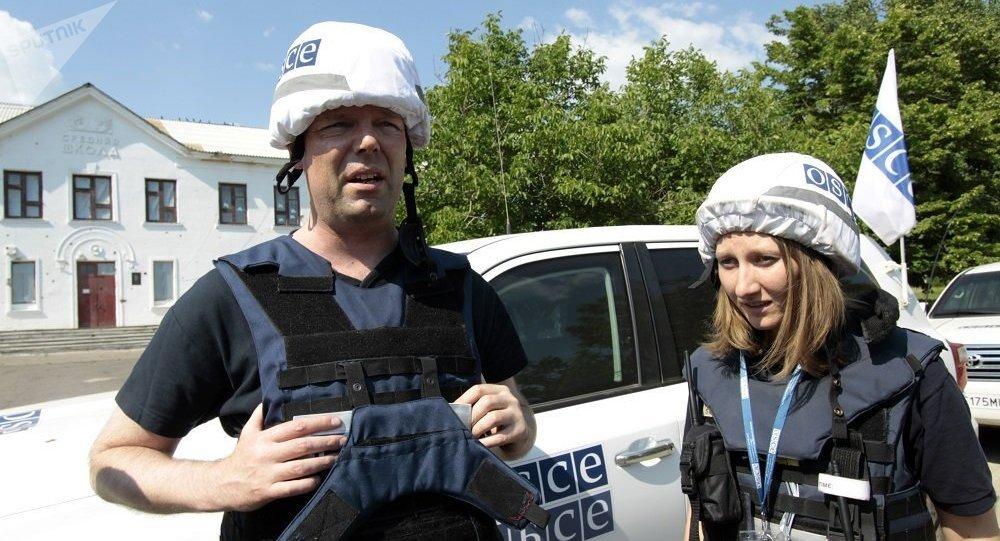 歐安組織駐烏克蘭特別監察團第一副團長亞歷山大·胡克(左邊)