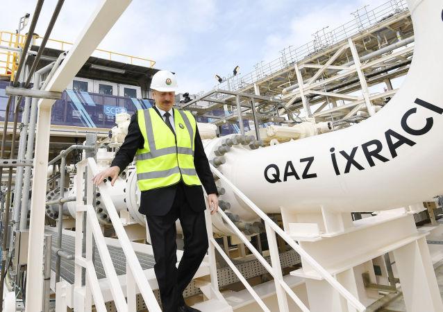 Президент Азербайджана Ильхам Алиев на церемонии открытия Южного газового коридора