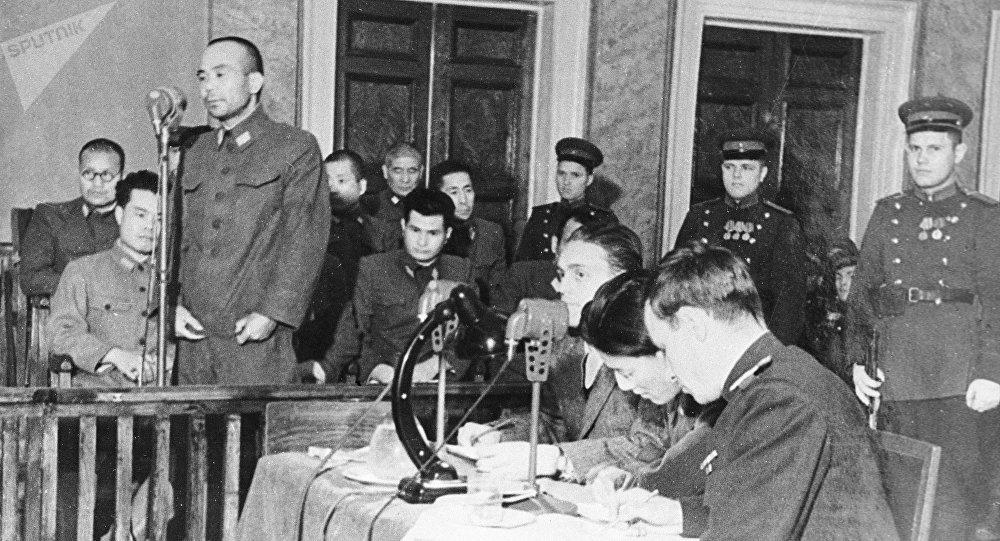 被告,731部队分队前队长,军医少将Onoue Masao做最后的陈述