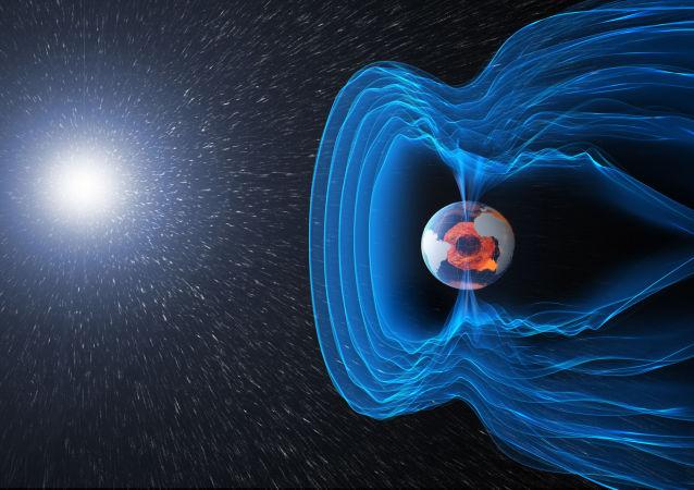 Художественное изображение геомагнитного поля Земли