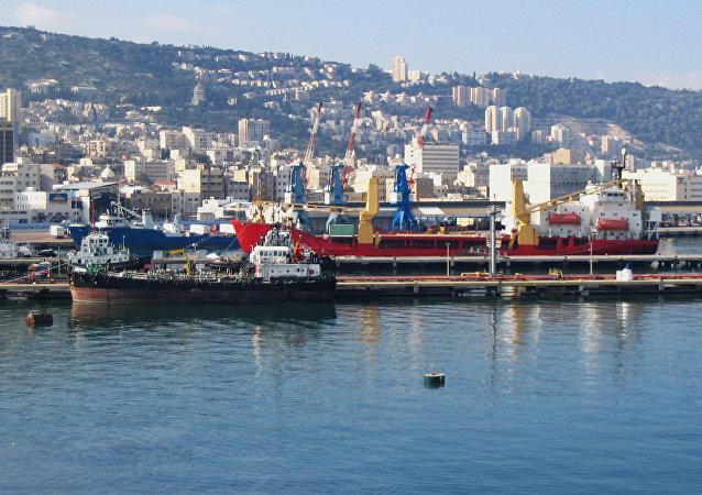 Port of Haifa, viewed from the harbor.
