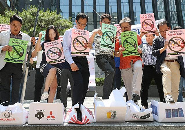 韩国和日本就谁曾给朝鲜非法供应商品而争吵