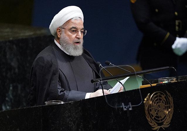 伊朗總統魯哈尼在第74屆聯大會議期間發言