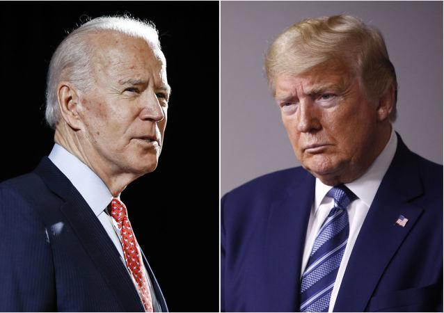 美国现任总统特朗普(右)和前任副总统拜登