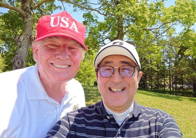 特朗普與日本首相安倍晉三