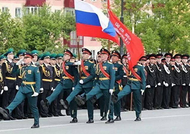 胜利日军事阅兵式在南萨哈林斯克